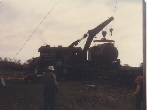 A steam crane lifting demonstration.  The Illinois Railway Museum.  Union Illinois.  September 1982 Member's Weekend. by Eddie from Chicago