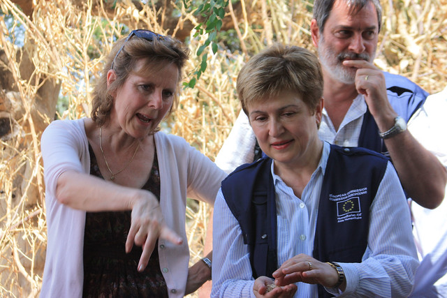 and Georgieva discuss the fodder chopping in Siti Zone, Ethiopia