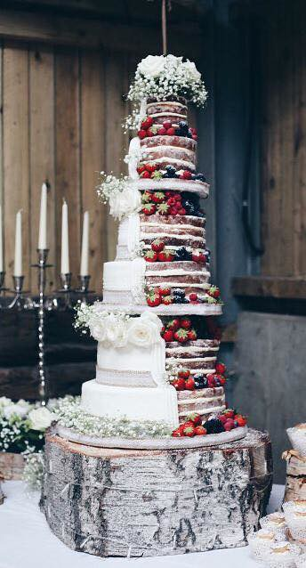 Semi Naked Wedding Cake by Aimee White of Delightfully Dainty Cakes