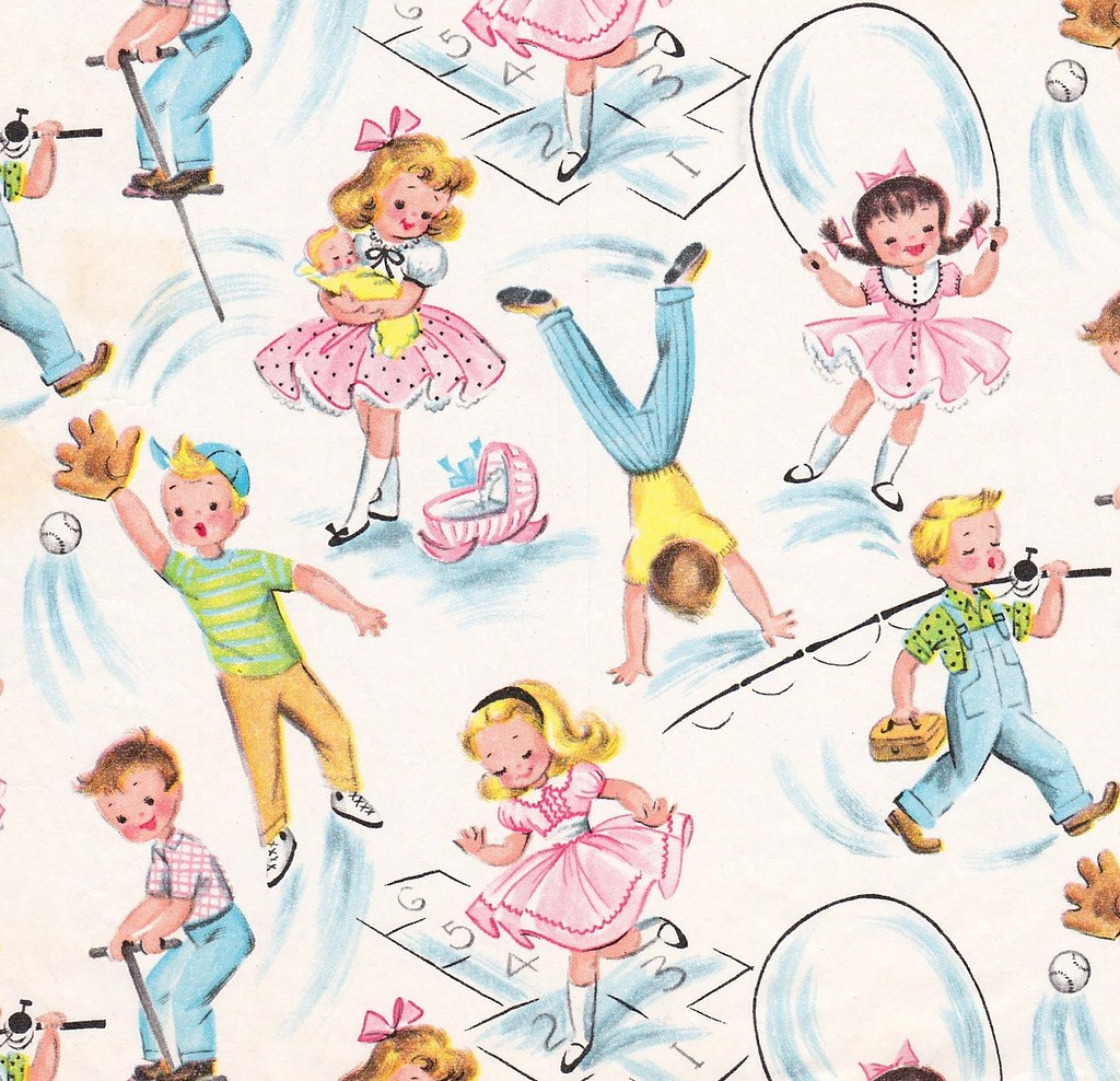 Vintage Gift Wrap Children Playing
