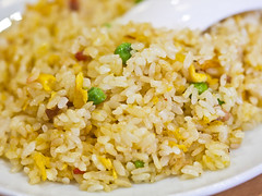 Extreme close up of Chinese fried rice