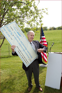 Ron Cogswell of the Civil War Preservation Trust with a Check Helping to Preserve the Wagner Tract at Chancellorsville (VA) April 20, 2010