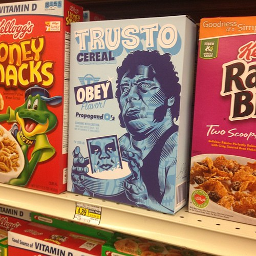First Trusto / @obeygiant cereal box dropped at Albertson's in Culver City. Venice Blvd. & Durango. 1 of 10. Secret prize inside... #streetart #graffiti #obey #trustocorp