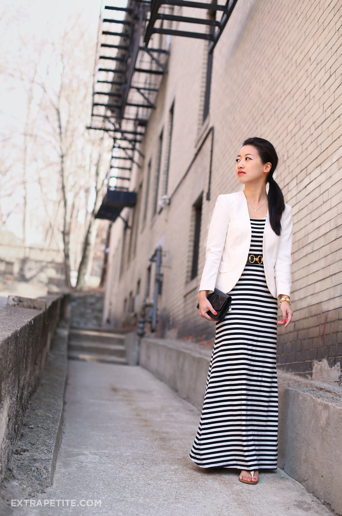 striped maxi dress ivory blazer