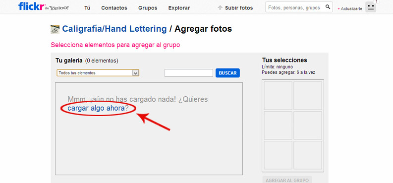 como cargar fotos grupo flickr