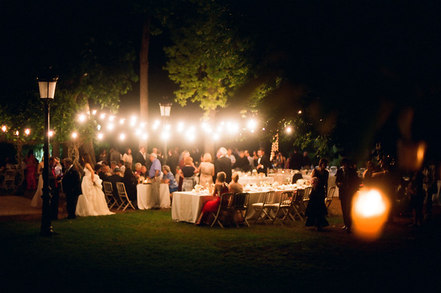 Outdoor Nighttime Wedding Celebration