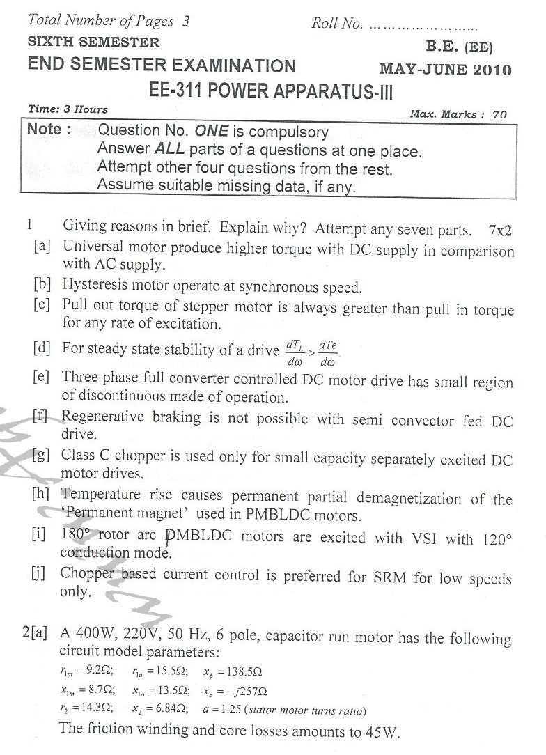 DTU Question Papers 2010 – 6 Semester - End Sem - EE-311