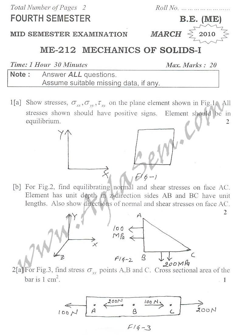DTU Question Papers 2010 – 4 Semester - Mid Sem - ME-212