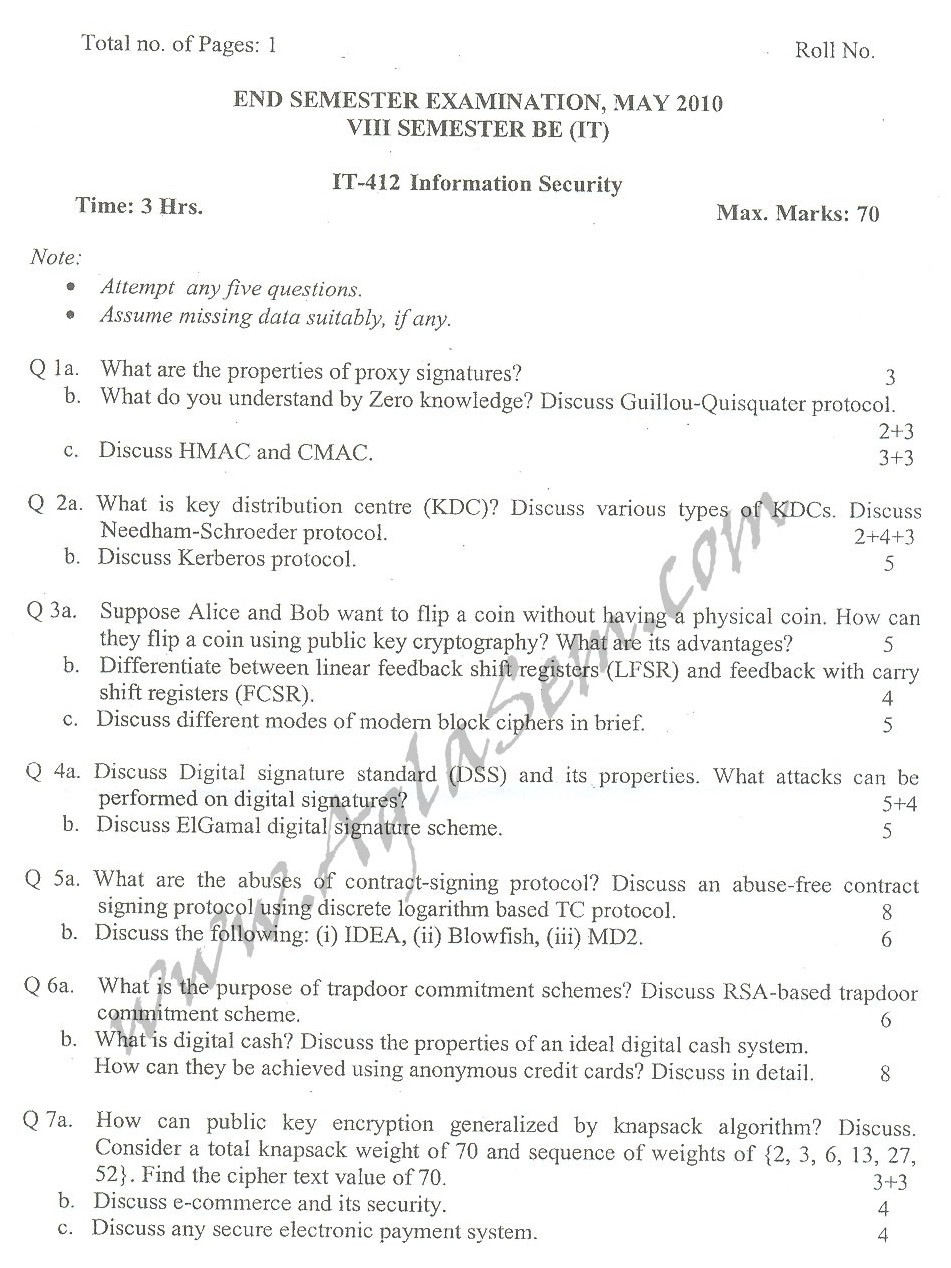 DTU Question Papers 2010 – 8 Semester - End Sem - IT-412