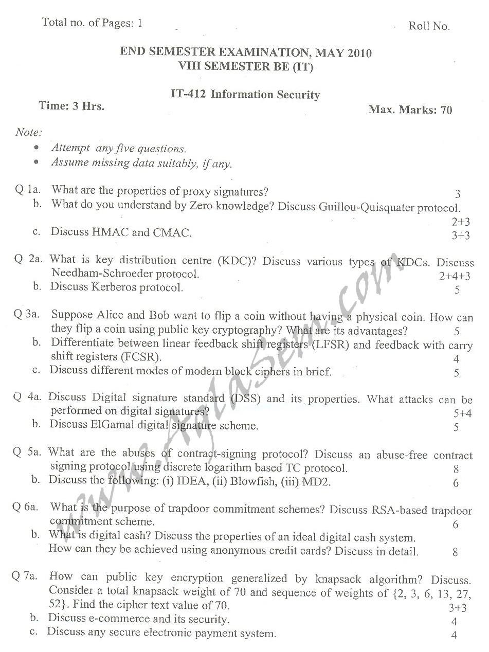 DTU Question Papers 2010 – 8 Semester - End Sem - IT-412