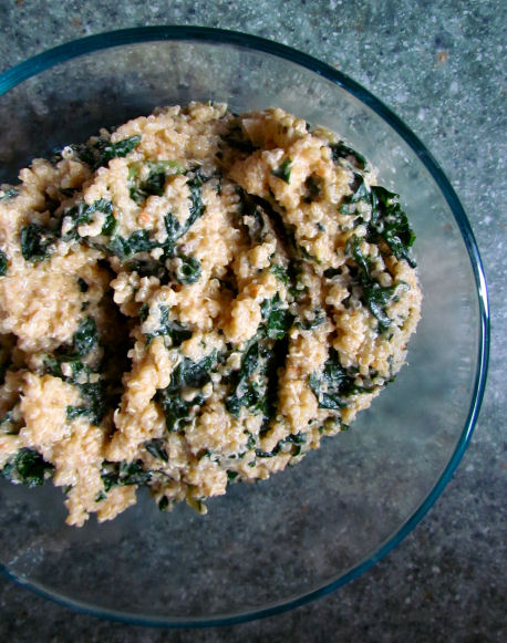 Kale and Quinoa in Red Pepper, Garlic, Onion and Tahini Sauce