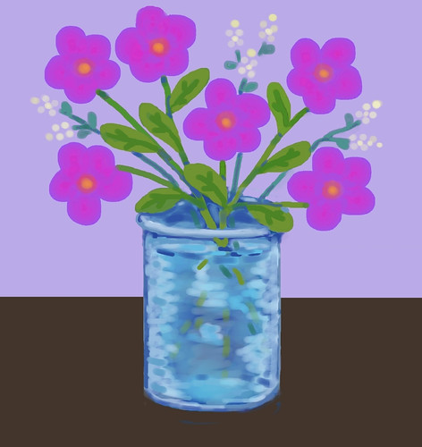 Pink Flowers in Blue Vase (Digital Pastel Day 4) by randubnick