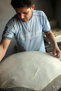 stretching lebanese bread