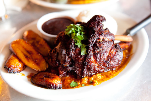 Today's special - Braised pork shank, mojo with a side of maduros, black beans and rice