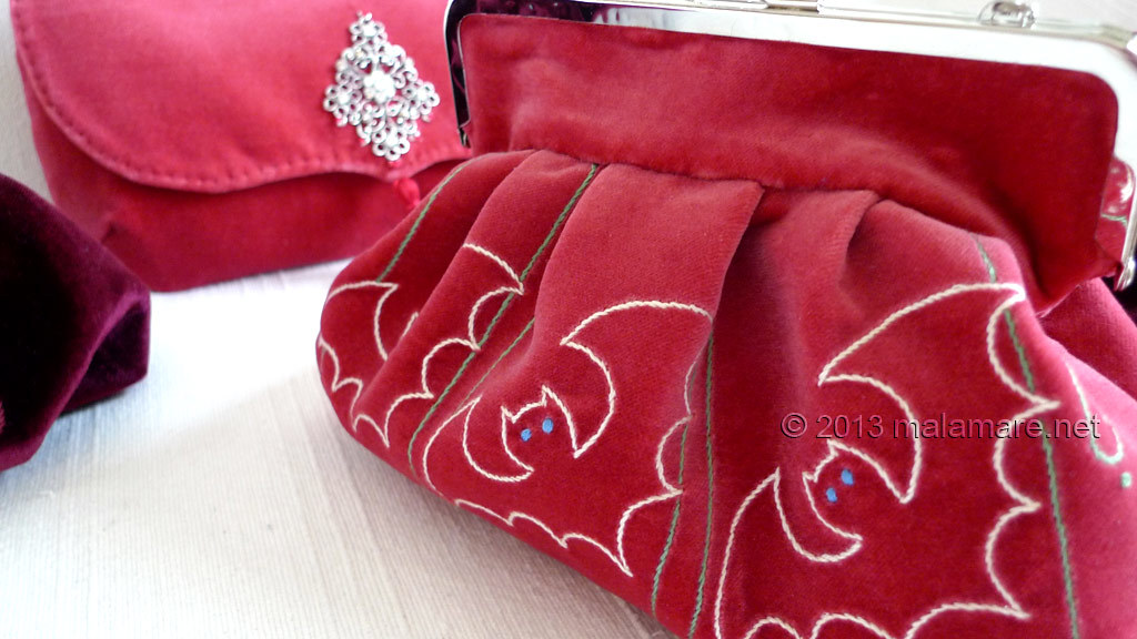 Formal velvet and satin handbags hand embroidery detail