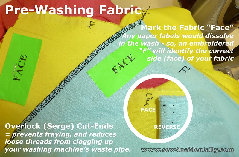 TIP - Pre-washing fabric, overlock and mark the face
