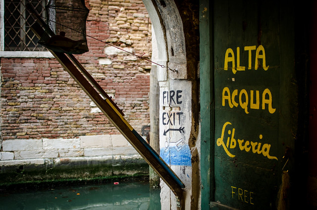 Fire exit at the most beautiful bookshop in Venice, Libreria Acqua Alta.