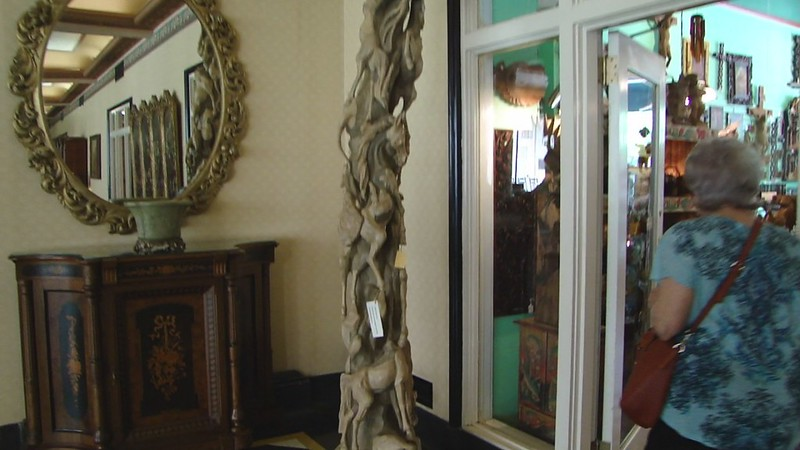 San Antonio, TX-historic Menger Hotel-wood sculpture