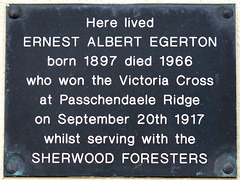 Photo of Ernest Albert Egerton grey plaque