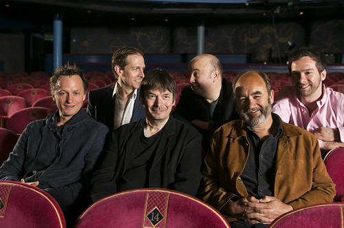 All the boys: Lyceum Artistic Director Mark Thomson, Writer Tim Barrow, Author Ian Rankin, Director Tony Cowie, Writer David Haig and Director Andrew Panton in the stalls at the Lyceum's 2013/14 season launch. Photo © Eoin Carey