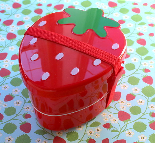 two tier strawberry bento box