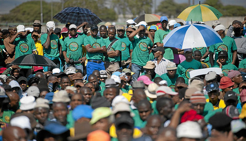 Rally said to be organized by the Association of Mineworkers and Construction Union (AMCU) at Marikana where workers were massacred by police in August 2012. The rally appeared to pose a challenge to NUM, COSATU and the ANC. by Pan-African News Wire File Photos