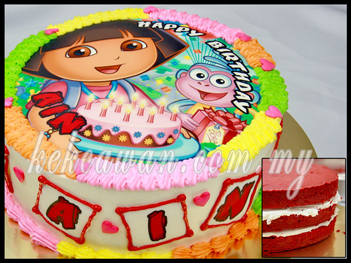Red Velvet Cake with Edible Image & Apam Polkadot