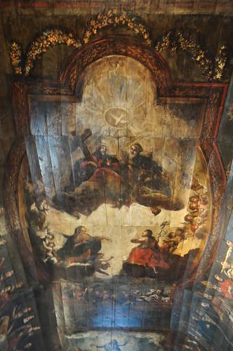 Plafond peint, église St Martin, Lévignacq, pays de Born, Landes, Aquitaine, France.