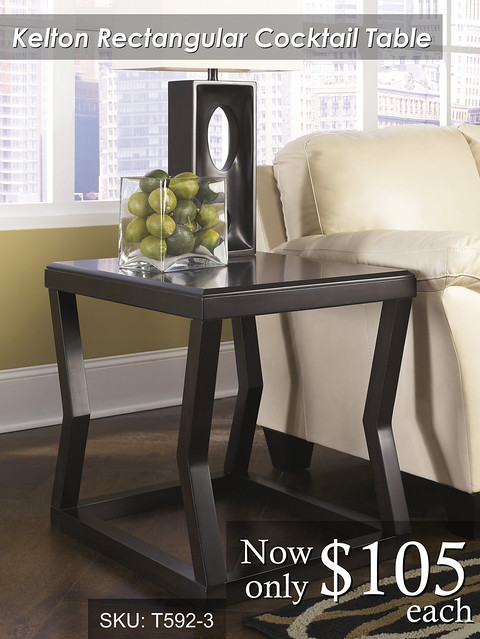 T592-3-SD -- Kelton Rectangular Cocktail Table with Ottoman Pair ($105 each one)