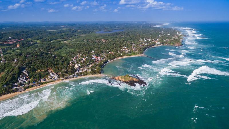 Mirissa beach aerial