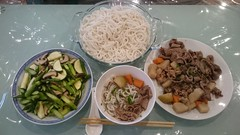 Julia's beef bone soup with thick rice noodles 牛骨汤江西米粉, asparagus, zucchini, shiitake mushroom