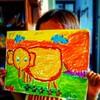 Lukisan Kyria pada ekskul melukis. Dia dapat :star2::star2::star2::star2::star2: (lima bintang) dari gurunya.  Anak TK sekarang pun sudah ada ekskul (ekstra kurikuler)