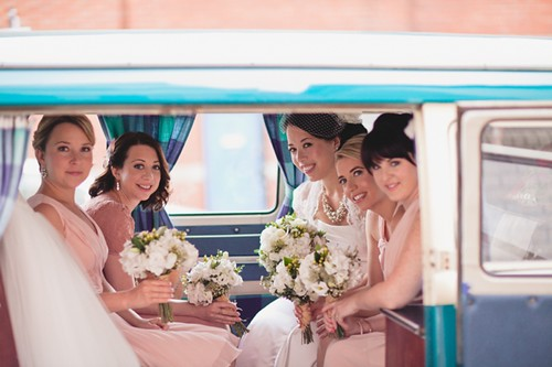 Maria with her bridesmaids