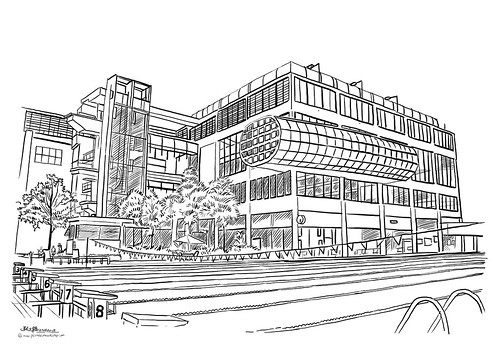 digital perspective sketch of Chinese Swimming Club - 1
