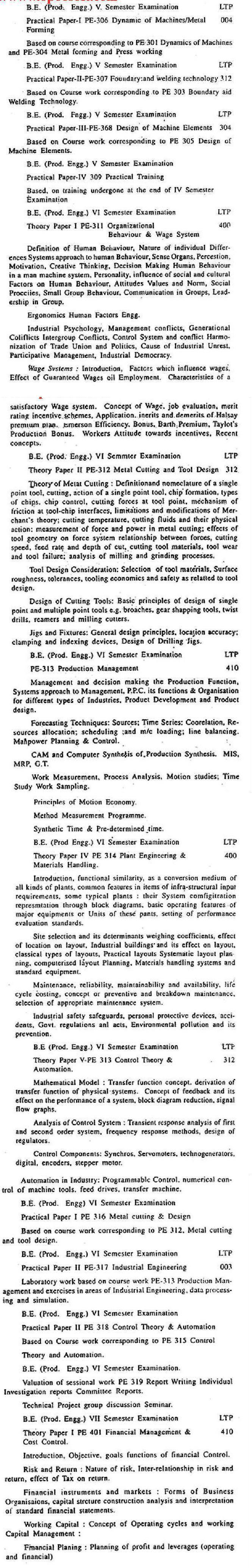 DTU Syllabus - Production Engineering