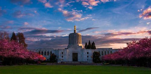 sunset statue oregon spring cherryblossoms salem statecapitol lowsun willamettevalley