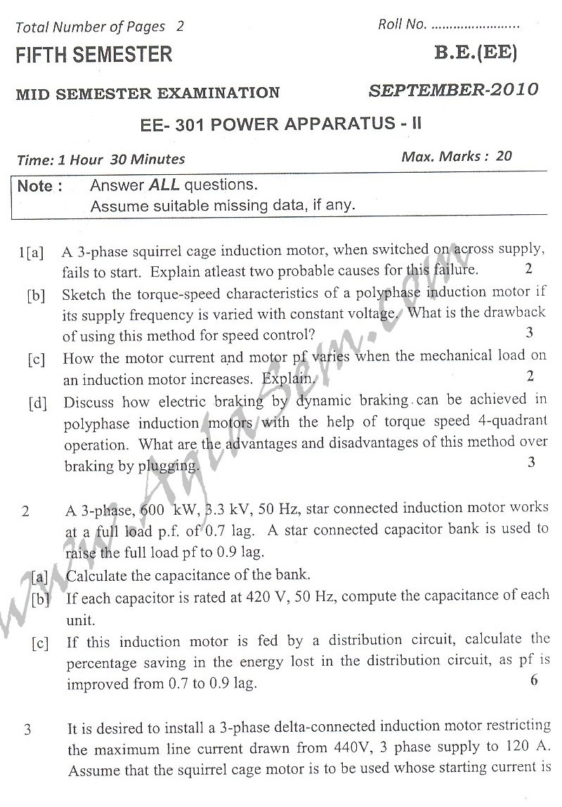 DTU Question Papers 2010 – 5 Semester - Mid Sem - EE-301