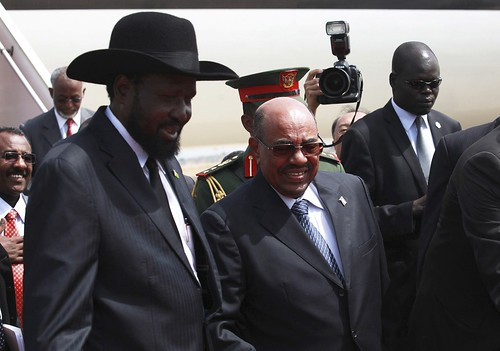 President Salva Kiir of the Republic of South Sudan hosts President Omar Hassan al-Bashir of the Republic of Sudan. President Bashir visited Juba on April 12, 2013. by Pan-African News Wire File Photos