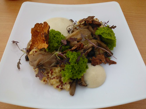 Quinoa Risotto, Bacon with Fried Jerusalem Artichoke Skin and Parsley Sponge
