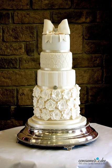 Ivory & White Bow & Ruffle FlowerWedding Cake
