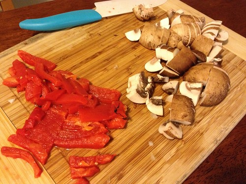 Roasted red peppers and mushrooms for pizza