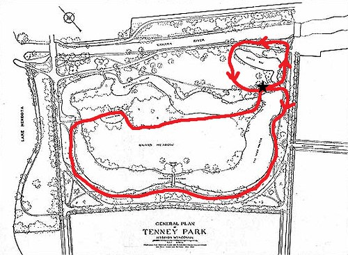 Tenney Park map - trash pickup route