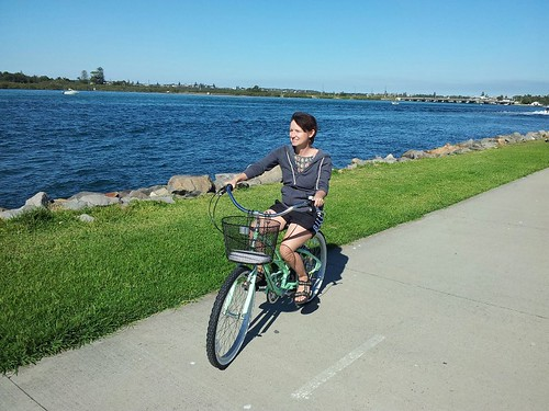 Amy's new bike at Swansea Channel by badskirt - amy