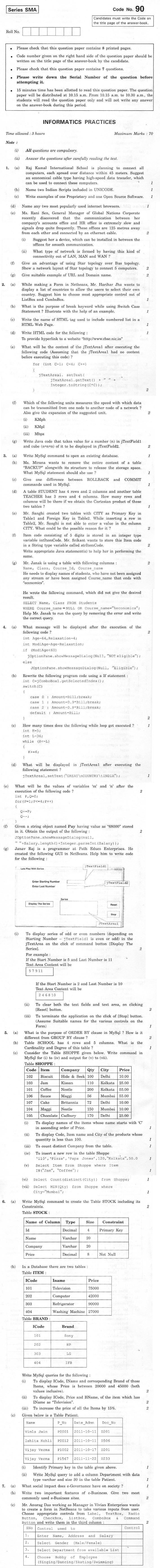 CBSE Class XII Previous Year Question Paper 2012 Information Practices
