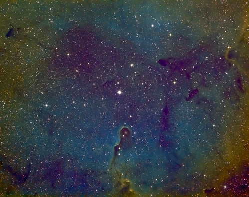 The Elephant's Trunk nebula Ha SII OIII (Hubble Palette) by Mick Hyde