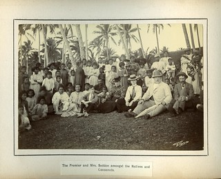 The Premier and Mrs. Seddon amongst the Natives and Cocoanuts.