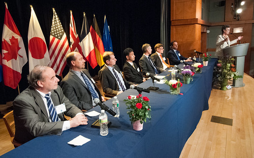 "From left: The G-8 Heads of Delegation Valery Khromchenkov (Russia), Robert Turnock (Canada), Hideaki Chotoku (Japan), Tim Wheeler (United Kingdom), Guillou Marion (France), Martin Koehler (Germany), and Giulio Menato (European Union) listen to Agriculture Under Secretary Research, Education and Economics (REE) Dr. Catherine Woteki (U.S.) announce the action plans developed at the G-8 International Conference on Open Data for Agriculture in Washington, D.C. on Tuesday, Apr. 30, 2013. The conference launched a new ""virtual community"" as part of a suite of actions, including the release of new data that the U.S. is taking to give farmers and ranchers, scientists, policy makers and other members of the public easy access to publicly funded data to help increase food security and nutrition. USDA photo by Bob Nichols."