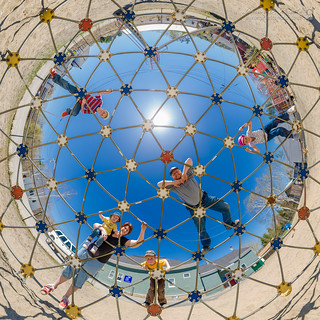 Family on Geodesic Dome