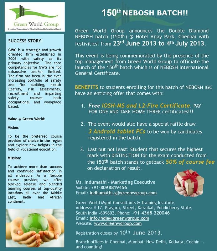 Get Nebosh 150th Batch Offers In Green World Group Chennai Branch
