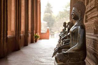Buddha Statues in Wat Pra Keo in Laos